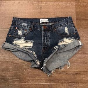 One teaspoon dark denim shorts